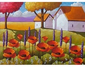 ORIGINAL Painting Modern Folk Art Cottage Barns Garden Red Poppies Flower Blooms Landscape Trees Color Artwork Cathy Horvath Buchanan 18x24