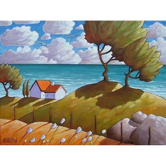 ORIGINAL Painting Modern Folk Art Ocean Cottages Blue Water Windy Trees & Blooms Landscape Fine Artwork Seascape by C Horvath Buchanan 18x24
