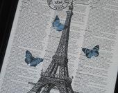 Paris and Blue Butterflies French Dictionary Art Dictionary Print HHP Original Design