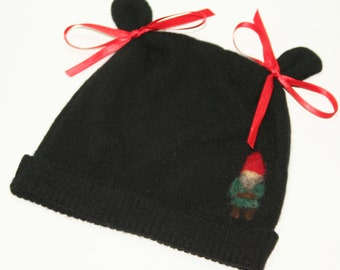 100% Cashmere Infant Boy or Girl Hat Black with Needle Felted Gnome SALE