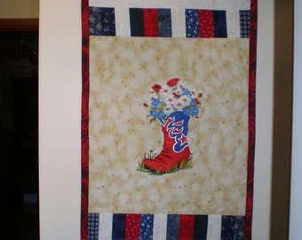 4th of July Wall Hanging, Door Hanging, Entryway Wall Hanging, Quilted/Embroidered Wall Hanging, God Bless America Wall Hanging, Patriotic