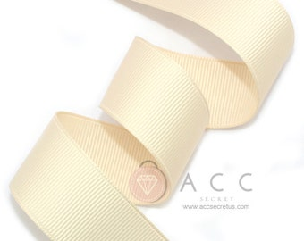 Light Beige Grosgrain Ribbon - 5mm(2/8''), 10mm(3/8''), 15mm(5/8''), 25mm(1''), and 40mm(1 1/2'')