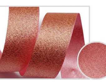 5Yards Metallic Sparkle Indian Pink Satin Ribbon - 15mm(5/8'') , and 25mm(1'')