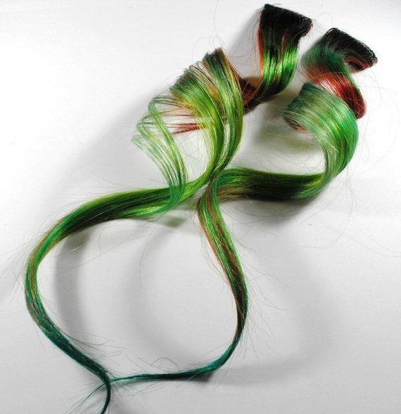 Wood Sprite / Human Hair Extension / Green Brown / Long Tie Dye Colored Hair