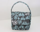 Back to School SALE -- Childrens Lunch Box, Fresh Modern Eco Friendly, Grey, Aqua and White Bicycles and Polka Dots