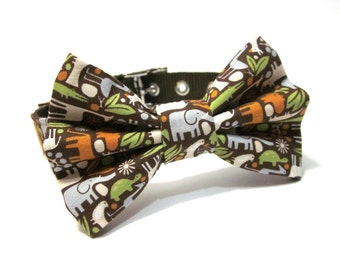 Dog Collar and Bow Tie Set- Zoology in Brown