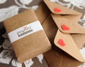 Handmade mini kraft paper envelope, super cute, with baby red heart on flap, set of 20