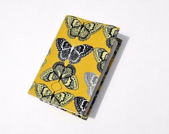 Passport Cover Sleeve Case Butterfly Field Study Yellow and Black  theme Cotton Fabric