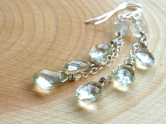 Green Amethyst Cascade Earrings Sterling Silver Dangling Waterfall Prasiolite Earrings Mint Gemstones