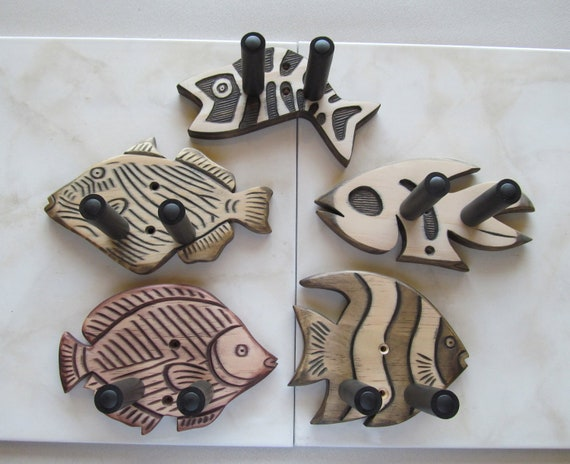 Unique hand carved ukulele wall mount hangers, 5 pack of fish