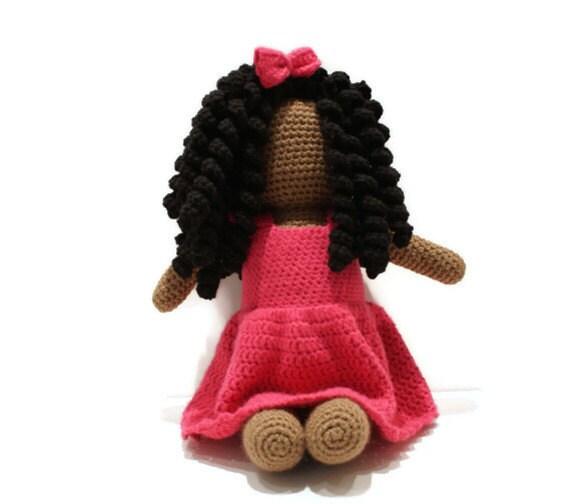 Large Crochet Faceless Doll Amigurumi African American