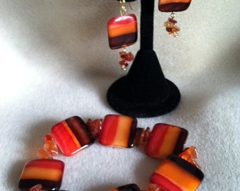 Shell and Carnelian Jewelry, Square Shell Bracelet and Matching Earrings Handmade Jewelry, Custom Jewelry