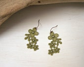 Daisy lace earrings lime green beaded