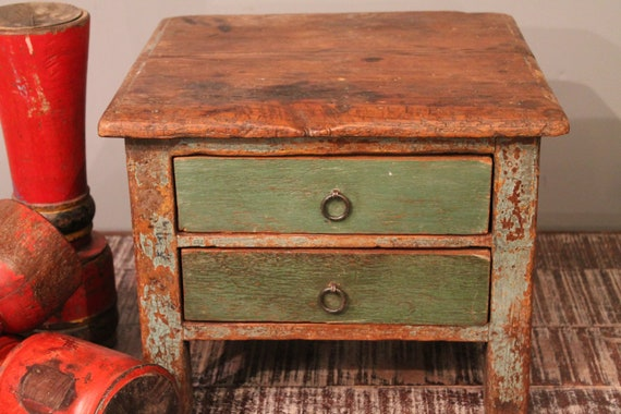 Vintage Indian Green Two Drawer Storage Table