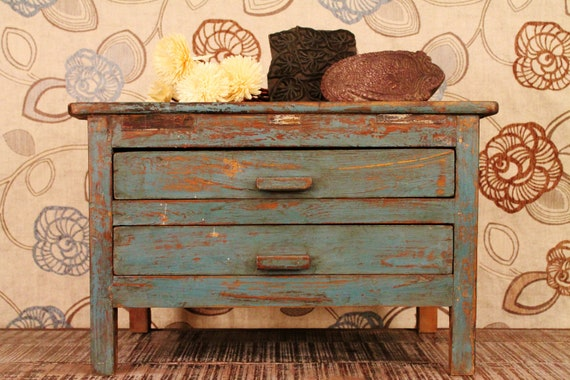 Vintage Blue Two Drawer Table