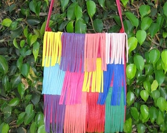 Rainbow Brights lamb skin cross body purse