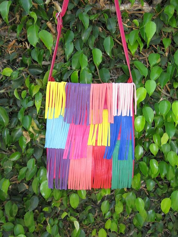 Rainbow Brights lamb skin cross body purse