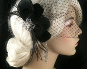 Bridal Feather Fascinator with Brooch, Bridal Fascinator, Fascinator, Bridal Veil, Black Peacock, Black Goose