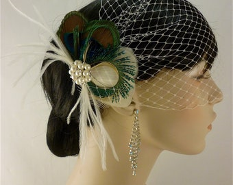 Bridal Feather Fascinator, Bridal Fascinator, Feather Fascinator, Fascinator, Wedding Veil, Bridal Headpiece, Bridal Veil, Pearls
