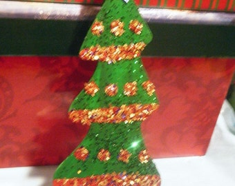 Red,Blue, and Gold Glitter Christmas Tree Magnet