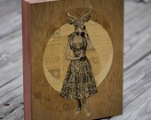 Deer Antler - Deer Head - Antler Art - Susan Gets a Call - Wood Block Art Print
