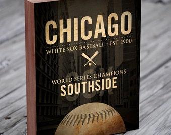White Sox - Chicago White Sox Baseball - Wood Block Art Print