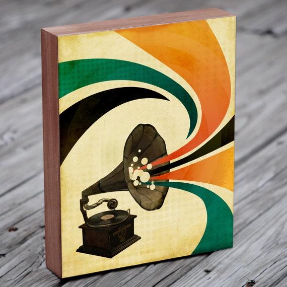 Gramophone - Gramophone Art - Rock Art - Record Art  - Wood Block Art Print - Music Art