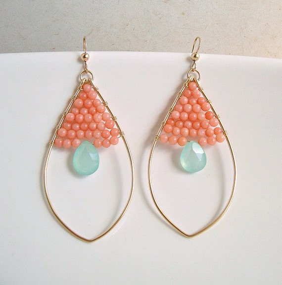 Peach Coral Aqua Chalcedony Earrings, Gold Filled Oval Hoops, Peach Mint Earrings
