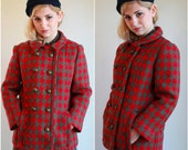 RESERVE Vintage 60s Peacoat  /  Wool Red And Olive Houndstooth Coat  /  1960s  /  OSFM