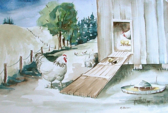 """Chicks By the Coop, Original Watercolor, 12"""" x 18"""""""