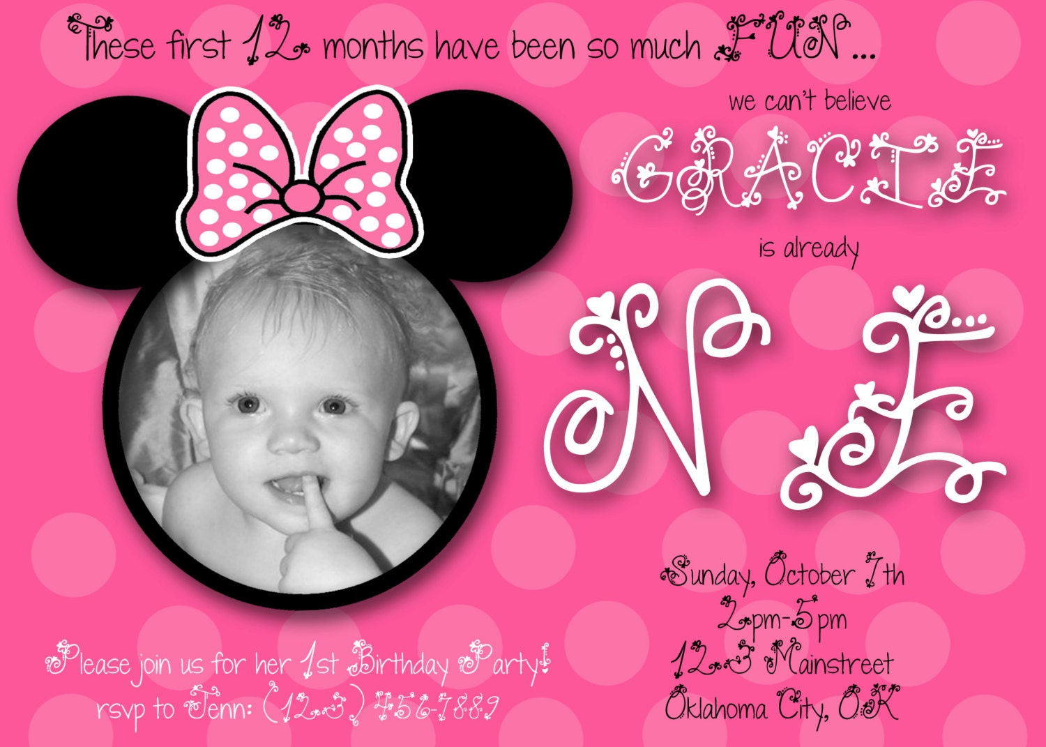 Minnie Mouse 1st Birthday Invitations Pictures to Pin – Custom 1st Birthday Invitations