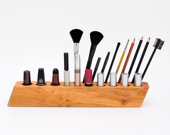 Makeup Organizer Cosmetic Organizer Wooden Makeup Brush Holder BIG SCARLETT Y