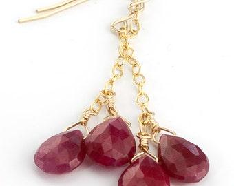 Ruby Earrings Rubies on Gold Chain