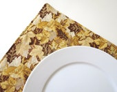 Pair of Reversible Placemats: Golden Leaves and Tan Stripe