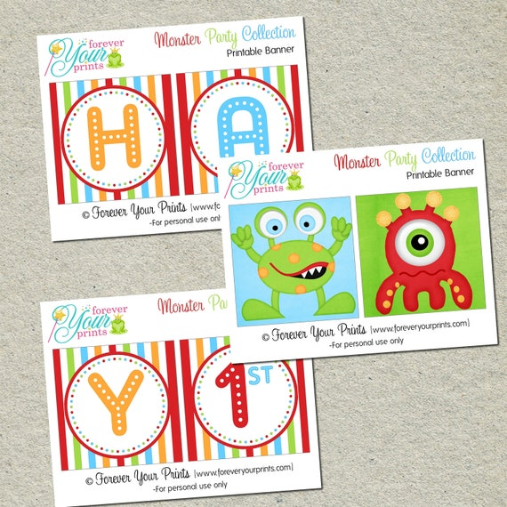 Monster Birthday Banner - You Print - Digital File