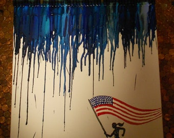 Female Runner for America Melted Crayon Painting