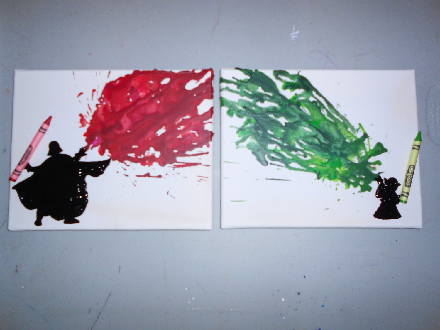 Star wars inspired melted crayon art paintings for Unique canvas ideas