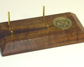 Business Card Holder / Stand in Figured Oregon Black Walnut and Brass with U.S. Navy Coin
