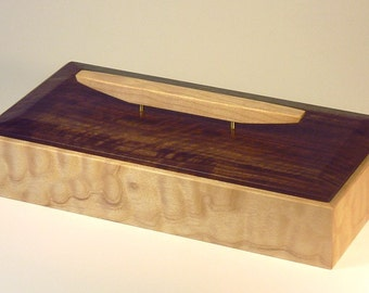 Keepsake Box in Quilted Maple and figured Oregon Black Walnut with graceful lift / handle