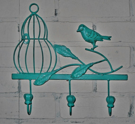 Items Similar To Metal Wall Hook Teal Wall Decor
