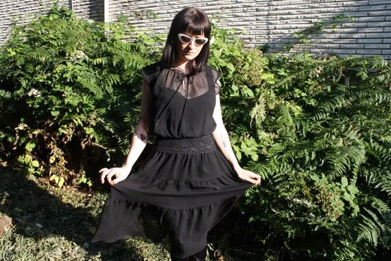 vintage 90s GOTH GRUNGE women's black sheer tie neck dress size s-m