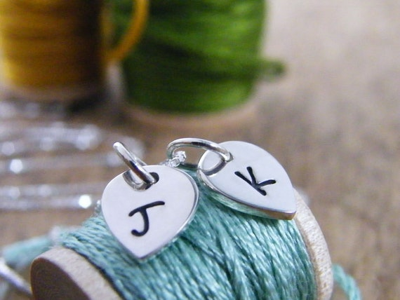 hand stamped petal initial letter or petal initial charm necklace all in sterling silver