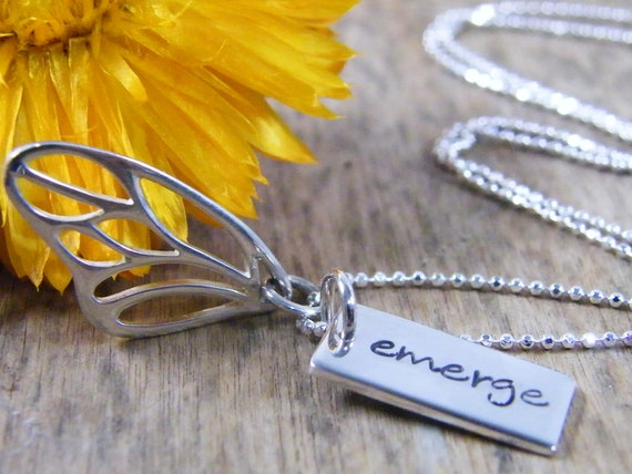 butterfly wing and hand stamped word tag emerge sterling silver necklace small