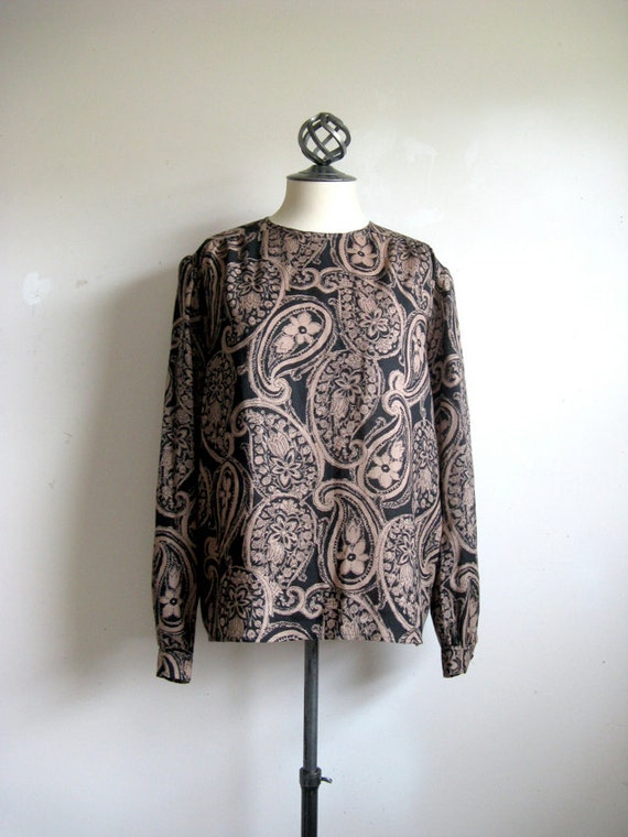 Valentino Miss Vintage Brown Black Paisley 1980s Blouse Size 44- Large