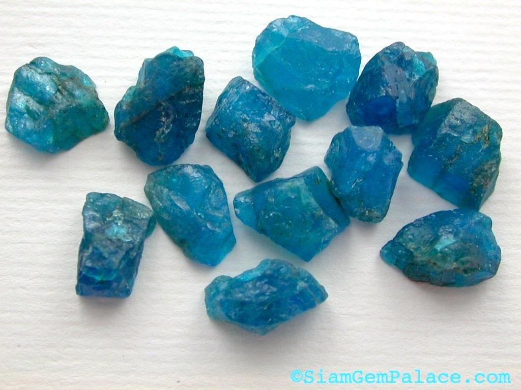 NeOn BLUE Apatite. Windex Blue Rough Top Natural Surface Stud