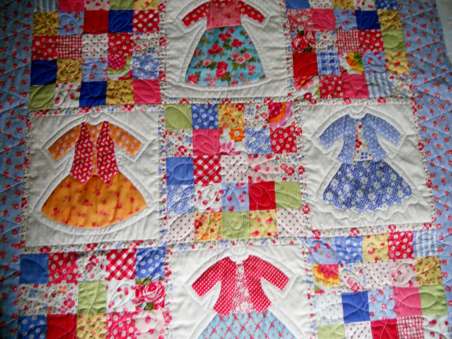 Doll Dress Up Patchwork Baby Girl Blanket Quilt Modern Retro