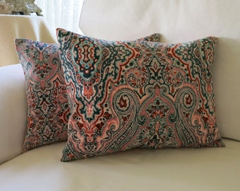 Two 12x16 Brushed Cord Pink Paisley Pillow Covers