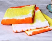 Candy Corn Kitchen Towels, hand dyed in brilliant orange and yellow. Perfect hostess gift