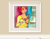 Bright Girl Pet Looking Out Window  8 x 10  Watercolor Print - Another Rainy Day