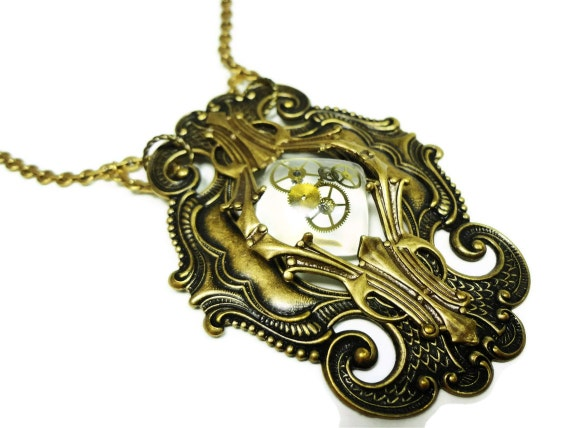 Steampunk Necklace Clockwork Alchemy Art Nouveau Large Pedant Necklace with Watch Parts Cabochon - by Dr Brassy Steampunk